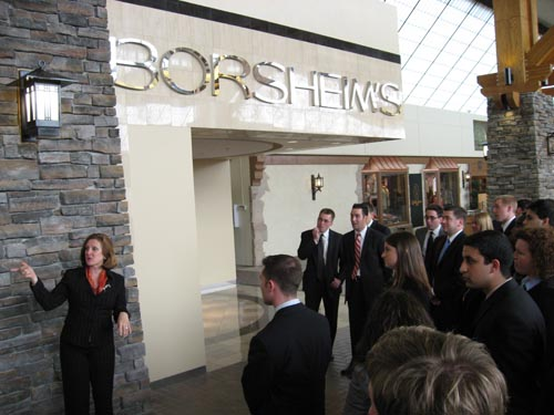 CEO Susan Jacques gives Whitman students of Borsheim's Fine Jewelers