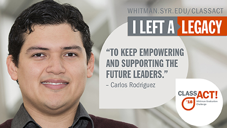 Carlos Rodriguez with a word bubble that states: To keep empowering & supporting the future leaders