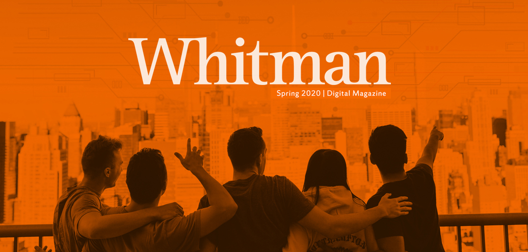 photo of Whitman's Spring 2020 Magazine cover, with students pointing to the NYC skyline