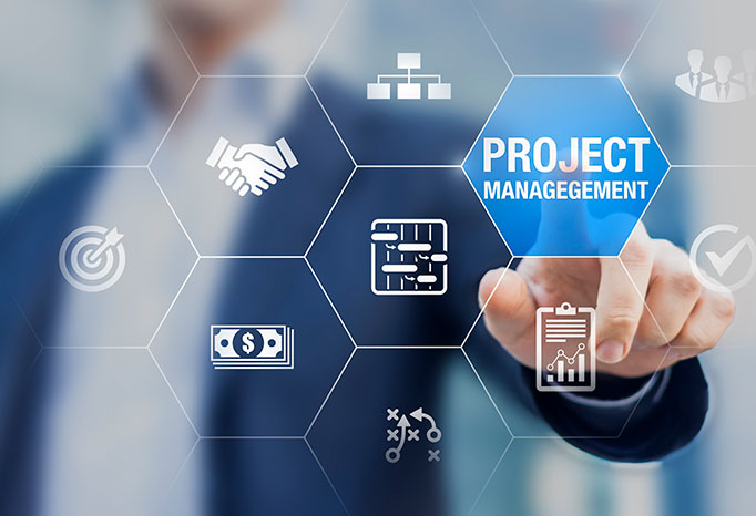 business man behind project management icons