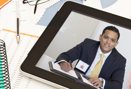 This photo is of an tablet with a Skype picture of a recruiter.