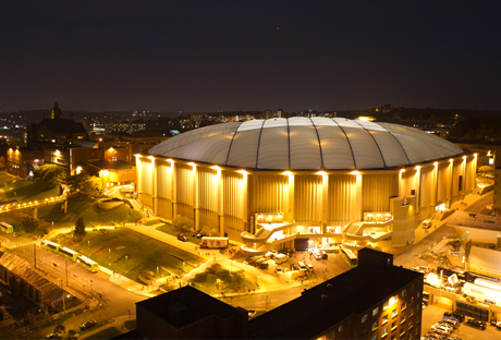 This picture is of the Carrier Dome at night.