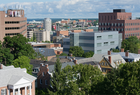 An aerial view of Syracuse University's campus buildings