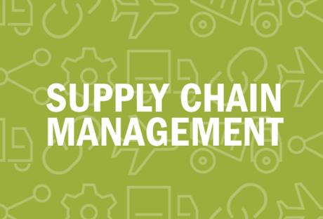Various green icons. Text reads: supply chain management