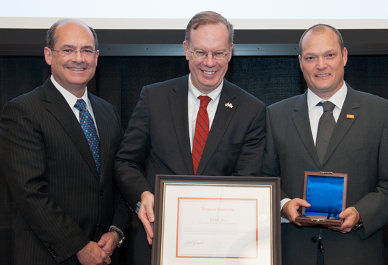 Professor Gary La Point with SU chancellor and Salzberg winner