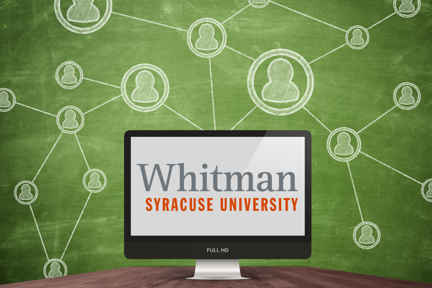 An image of a computer with the Whitman logo on it with a flow chart around it on a green background.