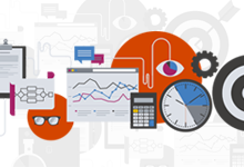 graphic with data icons that reads: Business Analytics