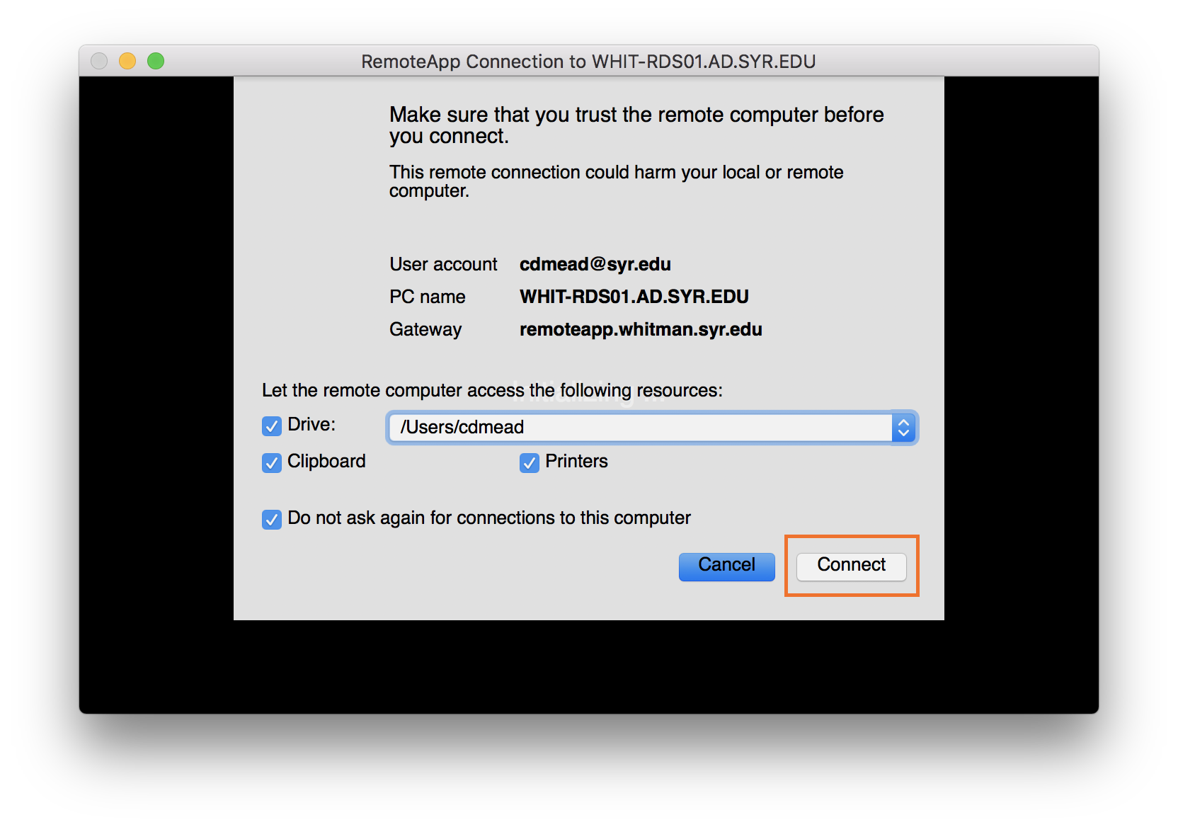 RemoteApp and RDWeb - Instructions for Mac OS X Users - Syracuse