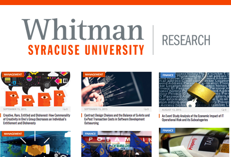 Research from the Faculty at the Martin J. Whitman School of Management