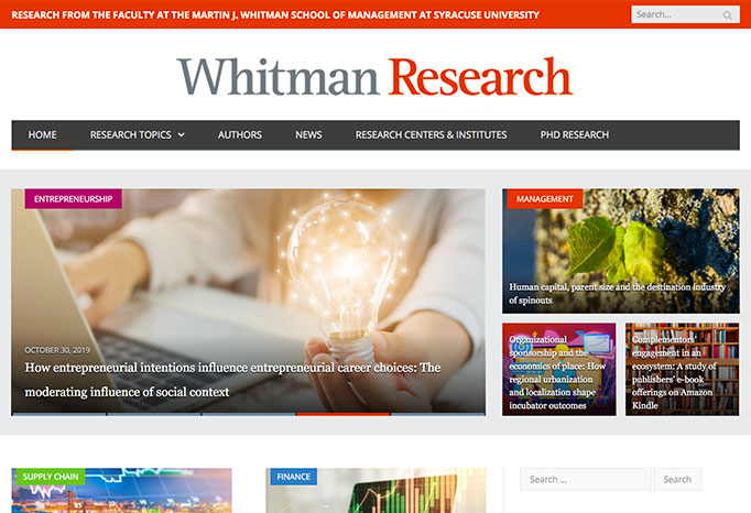 a screen shot of the Whitman research website