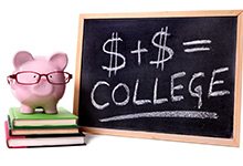 "Pig in glasses next to a chalk board with dollar signs and the word ""college."""