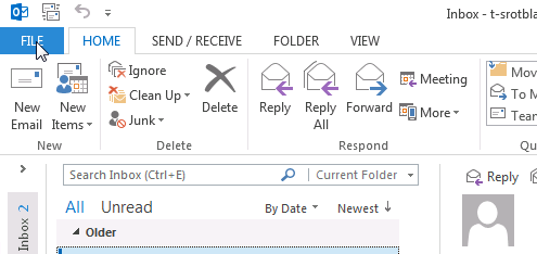 Outlook - Add proxy mailbox step 1