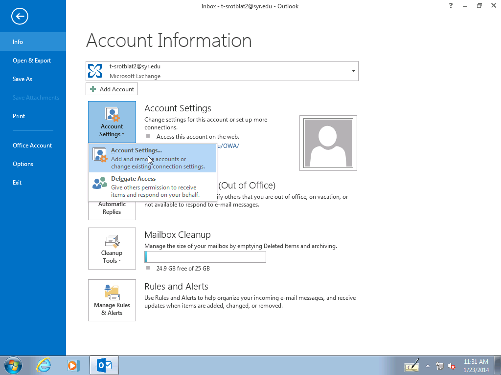 Outlook - Add proxy mailbox step 2